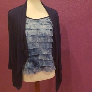 Notations ruffle top with built in cardigan